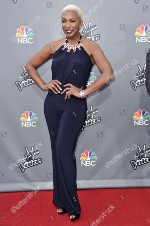 """Sisaundra Lewis are seen at """"The Voice"""" Top 12 Red Carpet Event on in Universal City, Calif"""