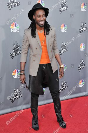 "Delvin Choice seen at ""The Voice"" Top 12 Red Carpet Event on in Universal City, Calif"