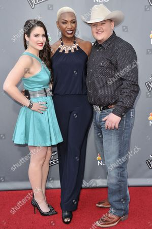 "From left, Audra McLaughlin, Jake Worthington, and Sisaundra Lewis are seen at ""The Voice"" Top 12 Red Carpet Event on in Universal City, Calif"