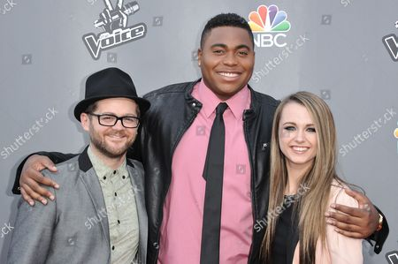 """From left, Josh Kaufman, T.J. Wilkins, and Bria Kelly are seen at """"The Voice"""" Top 12 Red Carpet Event on in Universal City, Calif"""