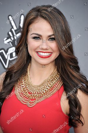 """Tess Boyer are seen at """"The Voice"""" Top 12 Red Carpet Event on in Universal City, Calif"""