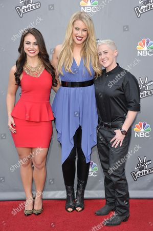"""From left, Tess Boyer, Dani Moz, and Kristen Merlin are seen at """"The Voice"""" Top 12 Red Carpet Event on in Universal City, Calif"""