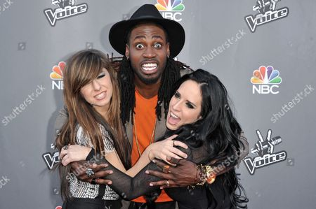"From left, Christina Grimmie, Delvin Choice, and Kat Perkins appear at ""The Voice"" Top 12 Red Carpet Event, in Universal City, Calif"