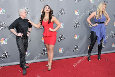 """From left, Kristen Merlin, Tess Boyer, Dani Moz are seen at """"The Voice"""" Top 12 Red Carpet Event on in Universal City, Calif"""