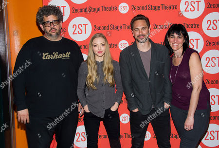 """Neil LaBute, left, Amanda Seyfried, Thomas Sadoski and Leigh Silverman participate in a press meet and greet for LaBute's new play """"The Way We Get By"""", at the Second Stage Theatre, in New York"""