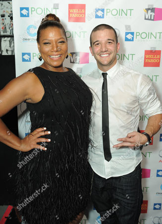 """Queen Latifah, left and Mark Ballas Jr. backstage at """"Voices On Point"""" Concert & Gala held at The Wiltern theatre, in Los Angeles"""