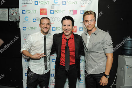 """Mark Ballas Jr., left, Hal Sparks and Derek Hough backstage at """"Voices On Point"""" Concert & Gala held at The Wiltern theatre, in Los Angeles"""