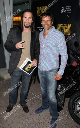 """From left, actors Sean McNabb and Chris Bruno arrive for the opening night performance of Queen and Ben Elton's """"We Will Rock You"""" at the Center Theatre Group/Ahmanson Theatre, in Los Angeles, Calif"""