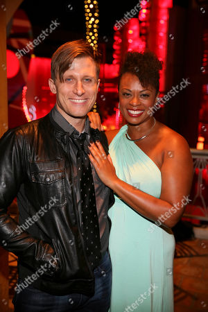 "From left, cast members P.J. Griffith and Jacqueline B. Arnold pose during the party for the opening night performance of Queen and Ben Elton's ""We Will Rock You"" at the Center Theatre Group/Ahmanson Theatre, in Los Angeles, Calif"