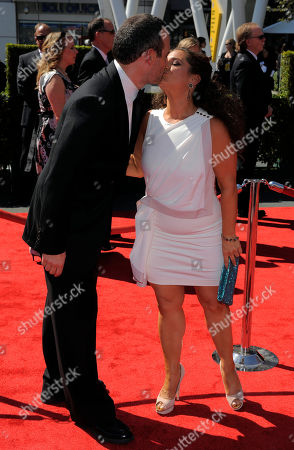 Judah Miller, left, and Marissa Jaret Winokur arrive at the 2012 Creative Arts Emmys at the Nokia Theatre, in Los Angeles