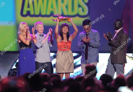 Stock Picture of Finalists Meg Bourne, Katia Gomez, Seth Maxwell, Danny Mendoza and Manyang Reath Kher speak onstage during the 2012 Do Something awards on in Santa Monica, Calif