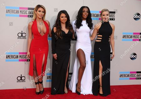Stock Photo of Aubrey O'Day, Andrea Fimbres, Dawn Richards, and Shannon Bex of music group Danity Kane arrive at the 2013 American Music Awards, on in Los Angeles