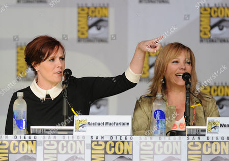 """Cast members Rachael MacFarlane, left, and Wendy Schaal attend the FOX """"American Dad"""" panel, on in San Diego, Calif"""