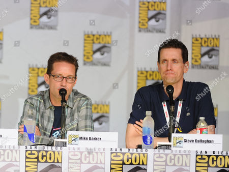 """Cast members Mike Barker, left, and Steve Callaghan attend the FOX """"American Dad"""" panel, on in San Diego, Calif"""