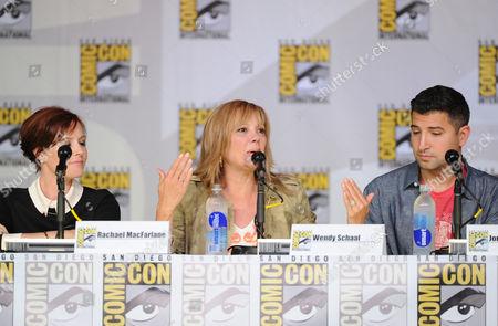 "From left, cast members Rachael MacFarlane, Wendy Schaal and series writer Jordan Blum attend the FOX ""American Dad"" panel, on in San Diego, Calif"