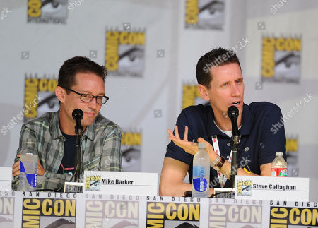 """Stock Image of Cast members Mike Barker, left, and Steve Callaghan attend the FOX """"American Dad"""" panel, on in San Diego, Calif"""