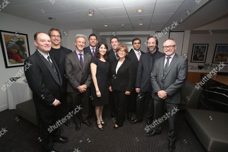 From left, Leon Silverman, Chris Gahagan, William goldenberg, A.C.E., Louis Hernandez Jr., President and CEO Avid, Carolyn Giardina, W. Sean Ford, VP Marketing Avid, Ellen Galvin, Aditya Joshi, Stephen Rivkin, A.C.E., Kevin Tent, A.C.E. pose during the 2013 Hollywood Post Alliance Awards Ceremony held at the Skirball Cultural Center on in Los Angeles, Calif