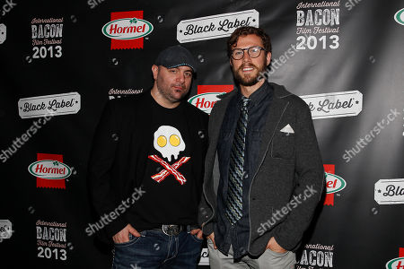 IMAGE DISTRIBUTED FOR HORMEL - Chef Chris Santos, left, and Hormel product manager Terrill Bacon attends the 2013 International Bacon Film Festival, sponsored by Hormel  Black Label Bacon on Thursday Oct.17, 2013 at Sunshine Cinema in New York