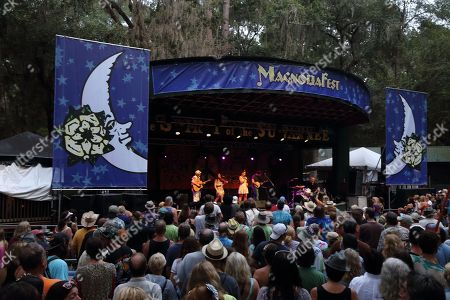 The Duhks (L- R Jordan McConnell, Tania Elizabeth, Jessee Havey, Leonard Podolak, Scott Senior) performs on day 3 of the 2013 Magnolia Fest at The Spirit of Suwannee Music Park on in Live Oak Florida