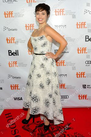 "Stock Photo of Kat Steffens arrives at the premiere of ""Parkland"" on day 2 of the Toronto International Film Festival at Roy Thomson Hall, in Toronto"