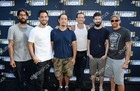 Rob Bourdon, and from left, Mike Shinoda, Joe Hahn, Chester Bennington, Brad Delson, and Dave Farrell of the musical group Linkin Park attend the mtvU Fandom Awards at MTV Fan Fest at Comic-Con, in San Diego