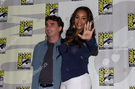 """From left, Anthony C. Ferrante and Vivica A. Fox attend the """"Sharknado"""" panel on Day 1 of Comic-Con International, in San Diego"""