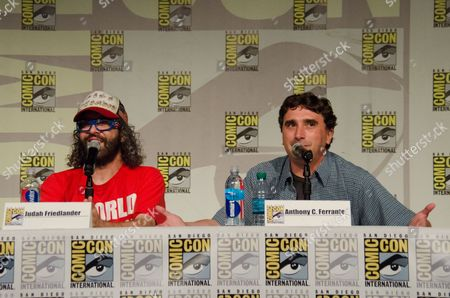 """From left, Judah Friedlander and Anthony C. Ferrante attend the """"Sharknado"""" panel on Day 1 of Comic-Con International, in San Diego"""