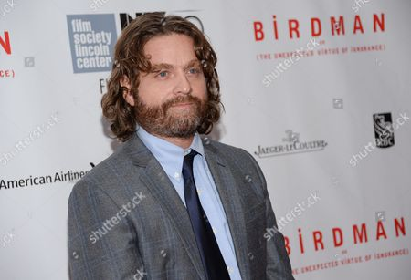 """Stock Picture of Actor Zach Galifanakis attends the """"Birdman or The Unexpected Virtue of Ignorance"""" closing night gala screening during the 52nd Annual New York Film Festival at Alice Tully Hall, in New York"""