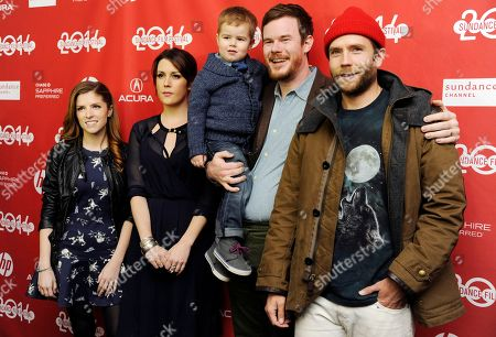 "Stock Image of Jude Swanberg Joe Swanberg, second from right, writer/director of ""Happy Christmas,"" poses with his son Jude, 3, a cast member in the film, and cast members, from left, Anna Kendrick, Melanie Lynskey and Mark Webber at the premiere of the film at the 2014 Sundance Film Festival, in Park City, Utah"