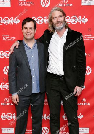 "Producers Alex Orlovsky, left, and Hunter Gray, right, pose together at the premiere of the film ""I Origins"" during the 2014 Sundance Film Festival, on in Park City, Utah"