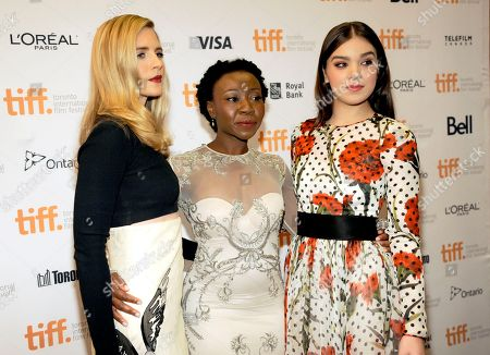 """Brit Marling and from left, Muna Otaru and Hailee Steinfeld attend the premiere of """"The Keeping Room"""" on day 5 of the Toronto International Film Festival at the TIFF Bell Lightbox, in Toronto"""