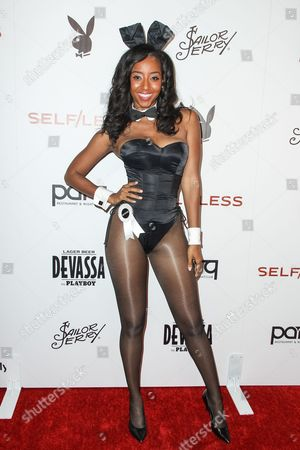 Miss July 2000 Neferteri Shepherd attends the Playboy and Gramercy Pictures' Self/less party on day 2 of Comic-Con International, in San Diego