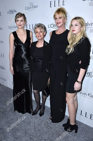 Dakota Johnson, Tippi Hedren, Melanie Griffith and Stella Banderas attend the 2015 ELLE Women in Hollywood Awards at the Four Seasons Hotel on in Los Angeles, California