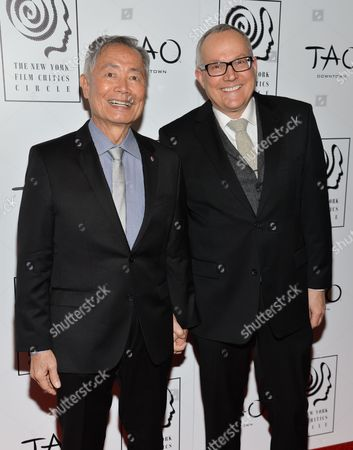 Actor George Takei, left, and husband Brad Takei attend the New York Film Critics Circle Awards at TAO Downtown, in New York