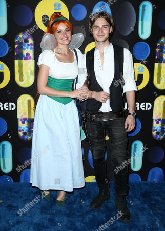 AJ Michalka, left, and Keenan Tracey attend the 2015 Just Jared Halloween Party at No Vacancy, in Hollywood, Calif