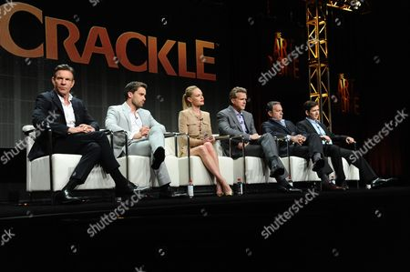 "Actors Dennis Quaid, from left, Christian Cooke, Kate Bosworth, Cary Elwes, writers and executive producers, Gardner Stern and Chuck Rose participate in the ""The Art of More"" panel at the Crackle Summer TCA Tour held at the Beverly Hilton Hotel on in Beverly Hills, Calif"