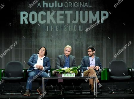 """Freddie Wong, from left, Ben Walker and Anthony Burch participate in the """"RocketJump: The Show"""" panel at the Hulu Summer TCA Tour at the Beverly Hilton Hotel, in Beverly Hills, Calif"""