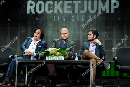 """From left to right, Freddie Wong, Ben Walker and Anthony Burch participate in the """"RocketJump: The Show"""" panel at the Hulu Summer TCA Tour at the Beverly Hilton Hotel, in Beverly Hills, Calif"""