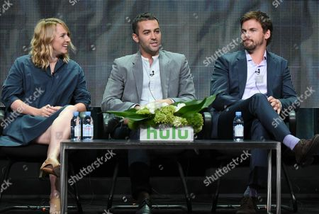 """Executive producers Helen Estabrook from left, Liz Tigelaar and creator Zander Lehmann participate in the """"Casual"""" panel at the Hulu Summer TCA Tour at the Beverly Hilton Hotel, in Beverly Hills, Calif"""