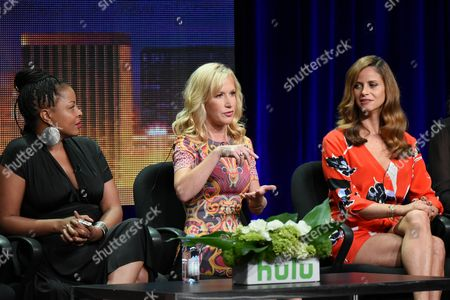 "Actors Tymberlee Hill, from left, Angela Kinsey and Andrea Savage participate in the ""The Hotwives of Las Vegas"" panel at the Hulu Summer TCA Tour at the Beverly Hilton Hotel, in Beverly Hills, Calif"