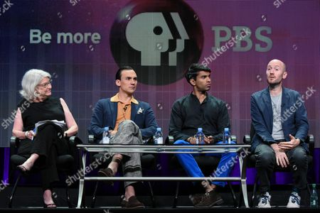 """From left, executive producer Rebecca Eaton, actors Henry Lloyd-Hughes, Nikesh Patel and creator/writer Paul Rutman speak onstage during the """"Masterpiece: Indian Summers"""" panel at the PBS 2015 Summer TCA Tour held at the Beverly Hilton Hotel on in Beverly Hills, Calif"""