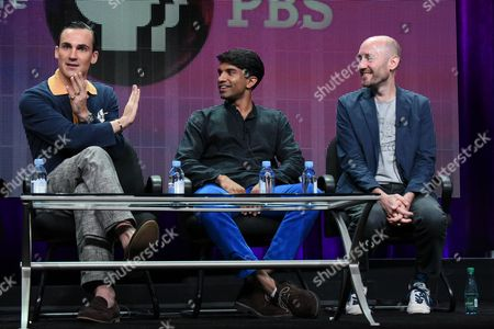 """From left, actors Henry Lloyd-Hughes, Nikesh Patel and creator/writer Paul Rutman speak onstage during the """"Masterpiece: Indian Summers"""" panel at the PBS 2015 Summer TCA Tour held at the Beverly Hilton Hotel on in Beverly Hills, Calif"""