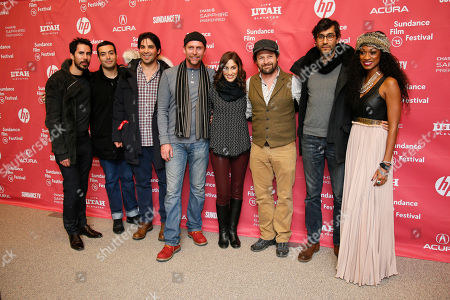 "From left to right, Gabriel Hammond, executive producer Mohammed Al Turki, producer Kevin Turen, actor Jayson Warner Smith, actress Cynthia Santiago, actor Tim Guinee, director Ramin Bahrani, and actress Nadiyah ""Skyy"" Taylor pose at the premiere of ""99 Homes"" during the 2015 Sundance Film Festival, in Park City, Utah"