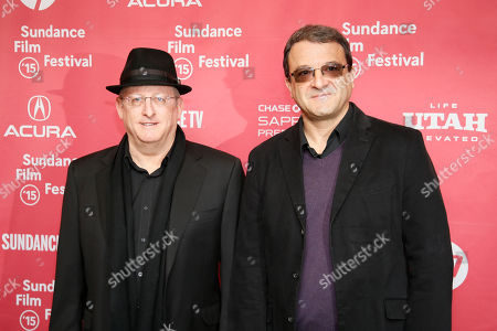 """Producers Uri Singer, left, and producer Fabio Golombek, right, pose at the premiere of """"Experimenter"""" during the 2015 Sundance Film Festival, in Park City, Utah"""