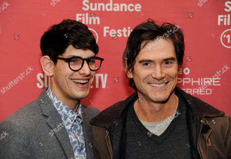 """Matt Bennett, left, and Billy Crudup, cast members in """"Stanford Prison Experiment,"""" pose together at the premiere of the film at the Eccles Theatre during the 2015 Sundance Film Festival, in Park City, Utah"""