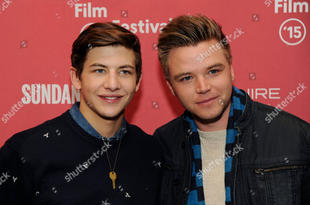 """Tye Sheridan, left, and Brett Davern, cast members in """"Stanford Prison Experiment,"""" pose together at the premiere of the film at the Library Center Theatre during the 2015 Sundance Film Festival, in Park City, Utah"""