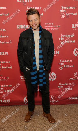 """Brett Davern, a cast member in """"Stanford Prison Experiment,"""" poses with Erin Urb at the premiere of the film at the Eccles Theatre during the 2015 Sundance Film Festival, in Park City, Utah"""