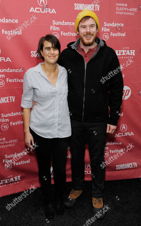 "Kris Swanberg, left, director and co-writer of ""Unexpected,"" poses with her husband, filmmaker Joe Swanberg, at the premiere of the film at the Library Center Theatre during the 2015 Sundance Film Festival, in Park City, Utah"
