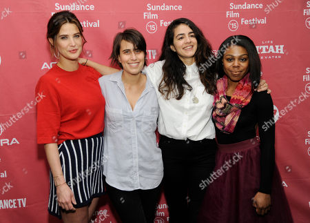 "Kris Swanberg, second from left, director and co-writer of ""Unexpected,"" poses with cast members Cobie Smulders, left, and Gail Bean, far right, and producer Andrea Roa at the premiere of the film at the Library Center Theatre during the 2015 Sundance Film Festival, in Park City, Utah"