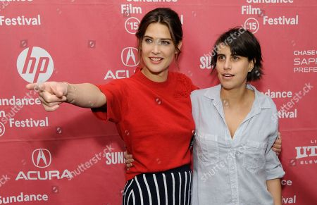 "Cobie Smulders, left, a cast member in ""Unexpected,"" gestures to a photographer as the film's director/co-writer Kris Swanberg looks on at the premiere of the film at the Library Center Theatre during the 2015 Sundance Film Festival, in Park City, Utah"